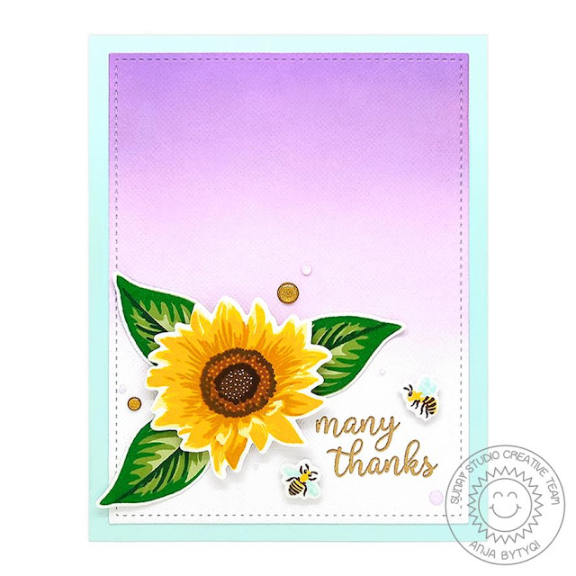 Sunny Studio Stamps: Sunflower Fields Frilly Frames Dies Thank You Card by Anja Bytyqi