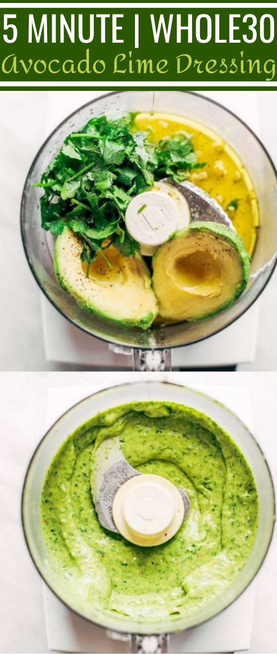 Creamy Avocado Cilantro Lime Dressing #healthy #glutenfree #paleo #lowcarb #salad