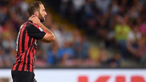 Higuain thi đấu không tốt ở Milan.