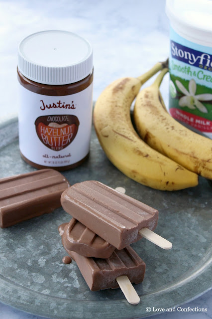 Chocolate Hazelnut Banana Frozen Yogurt Pops from LoveandConfections.com #StonyfieldBlogger