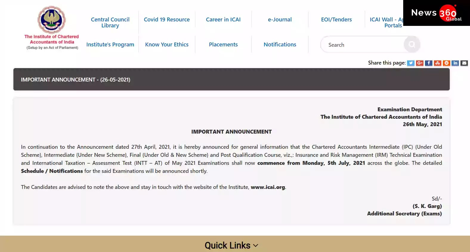 CA Exam date May 2021 ICAI Released Notice about Exam date for Inter, Final & PQC Courses  Check CA 2021 New Exam Dates and Official Notice Here