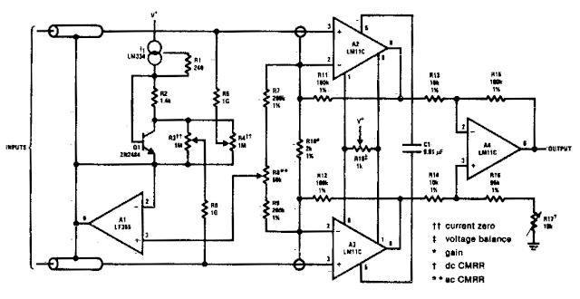 clean high gain differential instrumentation amplifier
