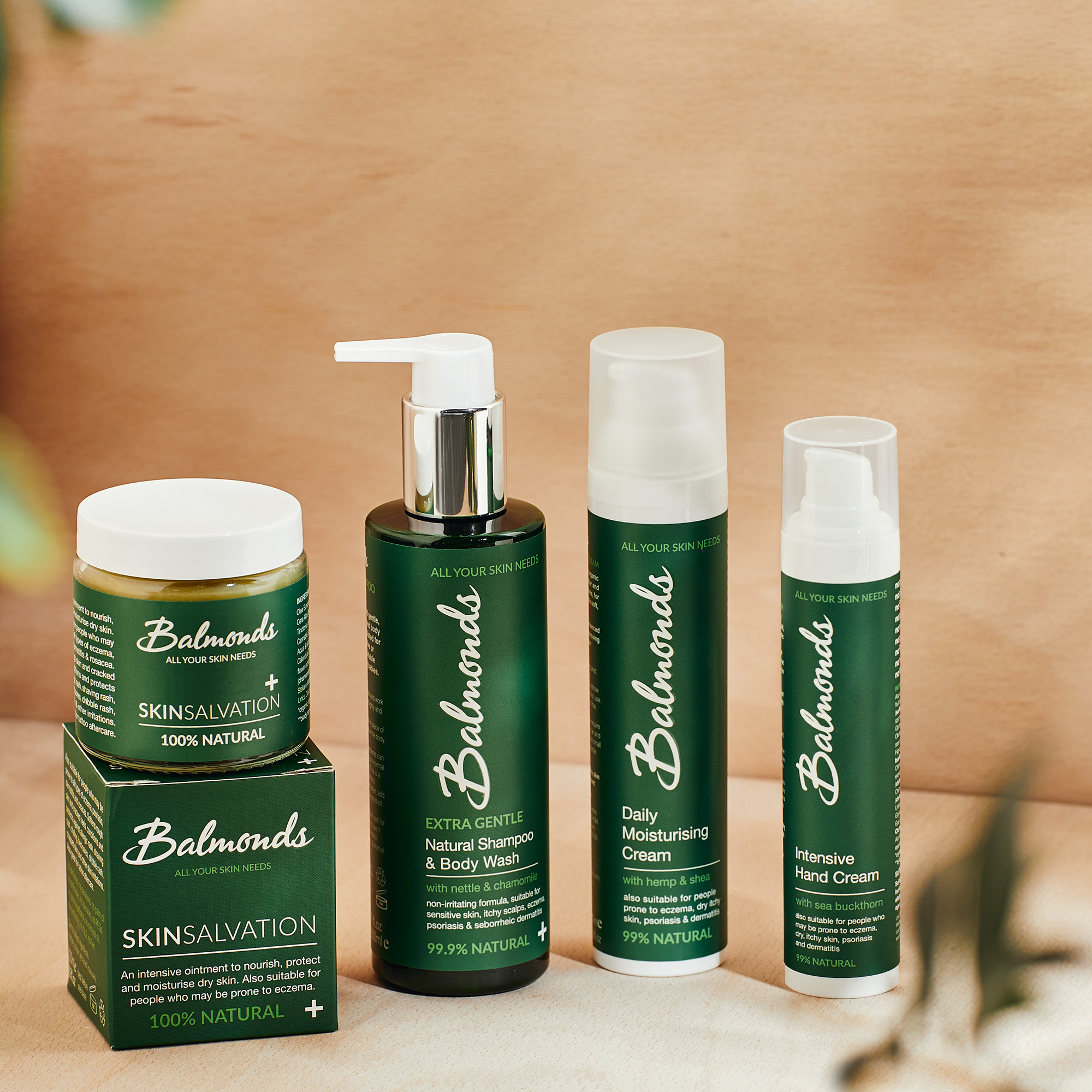 Balmonds natural skincare products lined up in a row