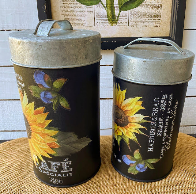 Photo of the sides of upcycled fall sunflower canisters.