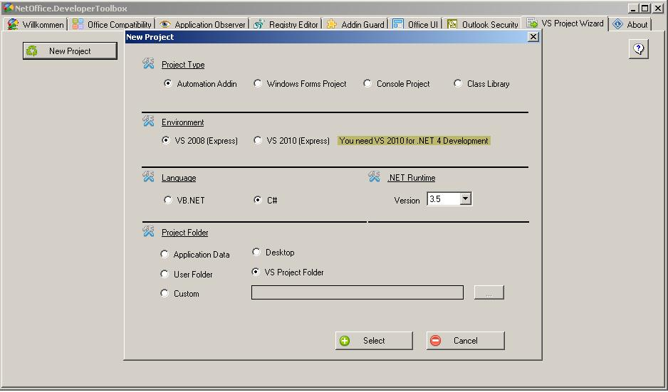Creating a Ribbon Add-in for Office Word in NetOffice Visual