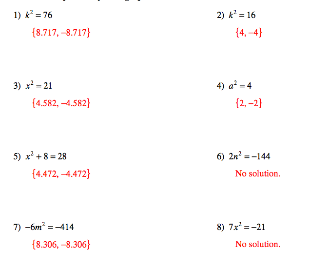 Pangarau: Quadratic Equations and Answers for worksheets