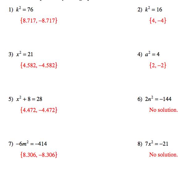 Pangarau: Quadratic Equations and Answers for worksheets