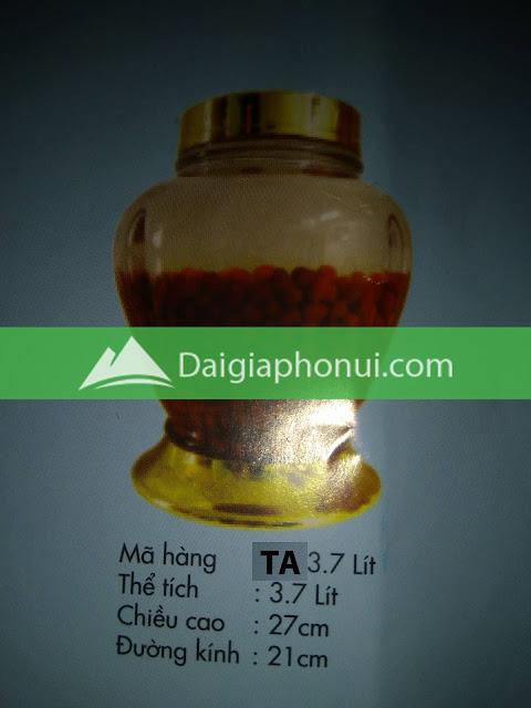 thông số bình ngâm rượu Phú Hoà mã số TA 3.7 LÍT