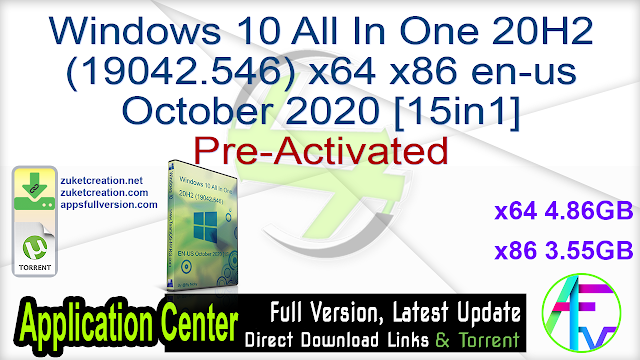 Windows 10 All In One 20H2 (19042.546) x64 x86 en-us October 2020 [15in1] Pre-Activated
