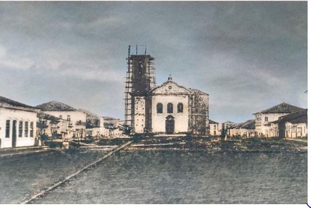 Igreja do Bom Jesus, em fotografia por volta de 1873. Acervo do Museu de Iguape, restaurada por Adriana Ortega
