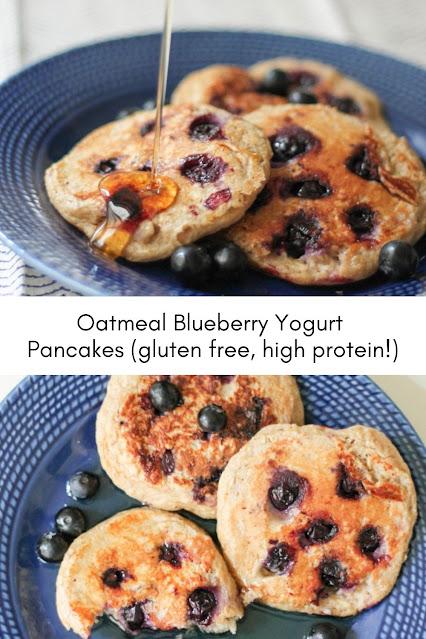 Oatmeal Blueberry Yogurt Pancakes (gluten free, high protein!)