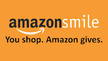 Orange background with word Amazon with it's arrow logo underneath with the word Smile next to it. Underneath this Amazon Smile wording is more text reading You Shop. Amazon Gives.