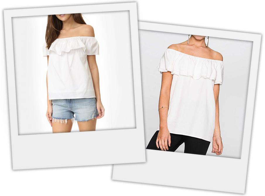 блуза с открытыми плечами, купить блузку без плечей, блузка без плеч с воланом, блузка без плеч, с чем носить топ с открытыми плечами