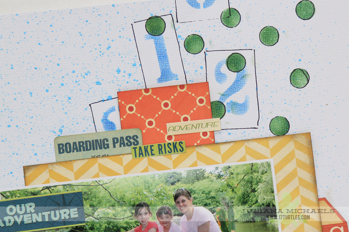 Our Adventure Scrapbook Page by Juliana Michaels featuring BoBunny Souvenir and Stickable Stencils