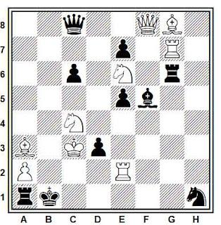 Problema de mate en 2 compuesto por Herbert Ahues (2° Premio, Die Schwalbe 1977)
