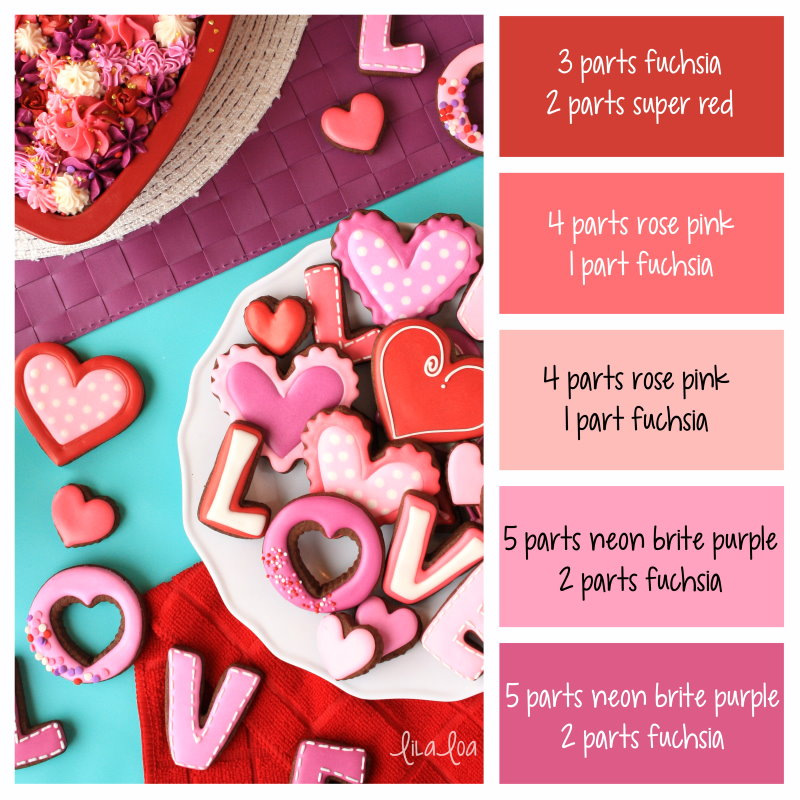 Traditional Valentine's Day color palette and icing colors