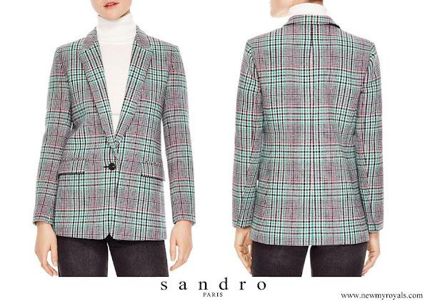 Queen Letizia wore Sandro Tribu Houndstooth Plaid Single button Blazer