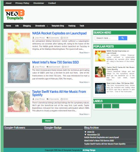 NEO 2015 - Fast SEO Responsive Blogger Template
