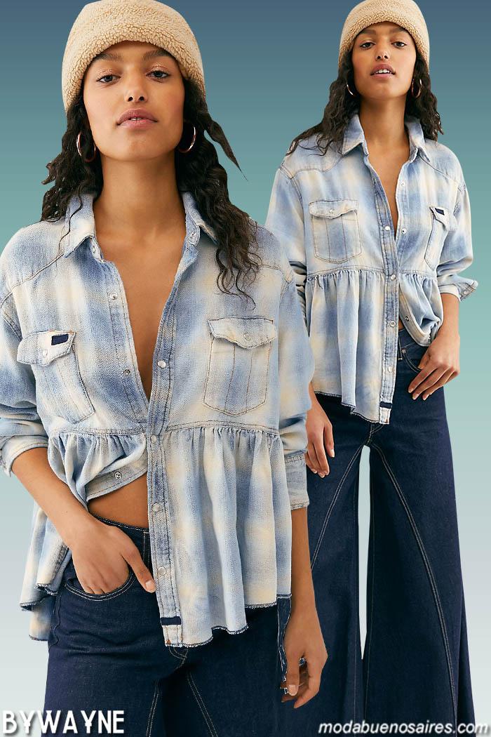 Camisas a cuadros y pantalones oxford de jeans otoño invierno 2020. Moda invierno 2020.