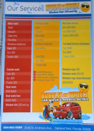 Bubbles On Wheels Car Wash Mobile Car Detail We Come To You We