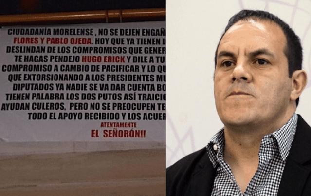 """""""El Señorón"""" amenaza con narcomanta a gobierno de Cuauhtémoc Blanco por traición"""