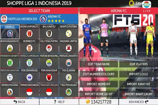 Download Game Android FTS 2020 MOD Shopee Liga 1 Indonesia