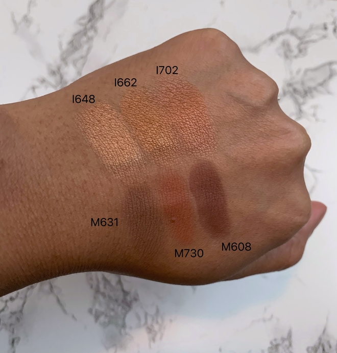 make up for ever (mufe) artist color eyeshadows swatches on dark skin (I648, I662, I702, M631, M730, M608)