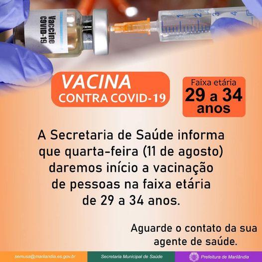 Marilândia dará início a vacinação de pessoas de 29 a 34 anos