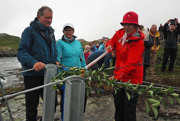 Queen Sonja of Norway opened a new suspension bridge which is on Opo River along Lofthus pathway in Hardanger region of Hordaland state of Norway