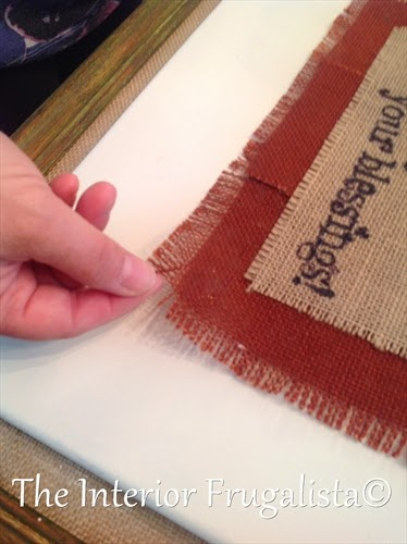 Fraying border on burlap printed Fall Art