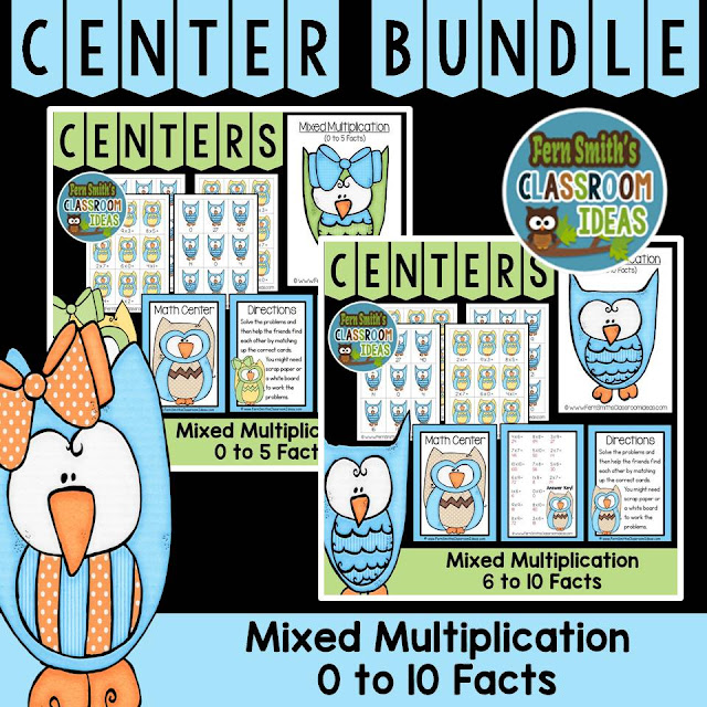 Fern Smith's Classroom Ideas Mixed Multiplication Math Center Games 0 to 10 Multiplication Facts at TpT, TeacherspayTeachers.