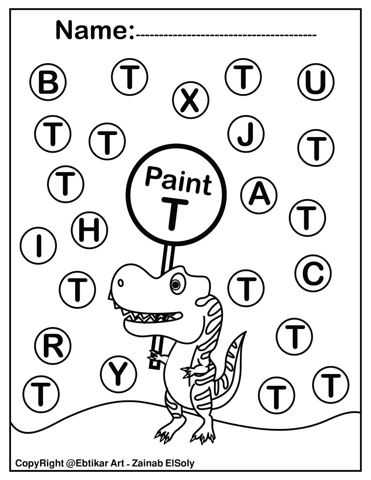 Set Of Abc Dinosaur Trex Activity Paint A Dot Preschool