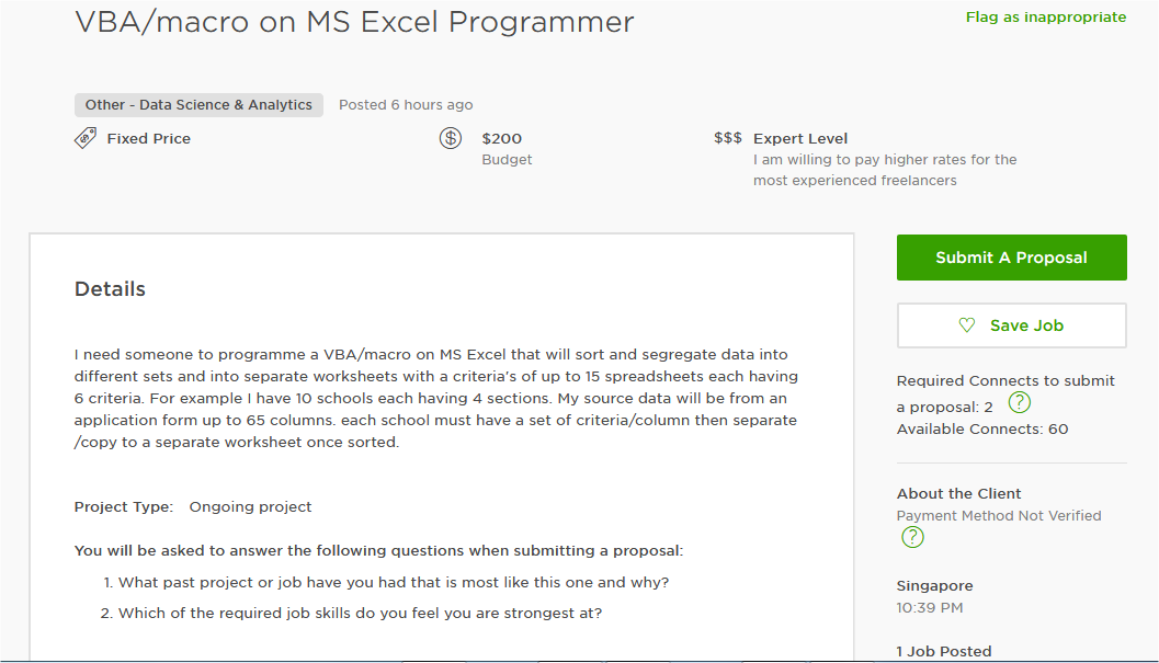 Delightful MS Excel Cover Letter Sample For Upwork And Other Freelancing Marketplace