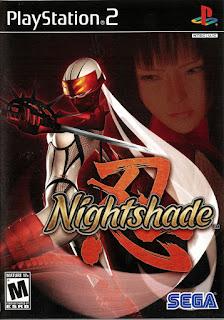 Carátula del DVD de Nightshade para PlayStation 2 (Sega, 2004). La portada muestra a una mujer ninja