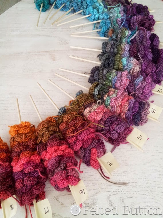 Skewered Flowers--a nifty way to organize motifs while joining so they don't need to be laid out and in the way.