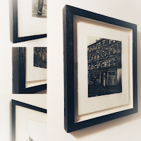 Black and white images of picture frames