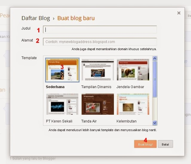 Membuat Judul, Alamat dan Template Blogger blog