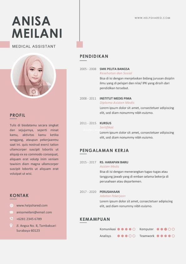 Contoh CV Lamaran Kerja elegan 4 Curriculum Vitae