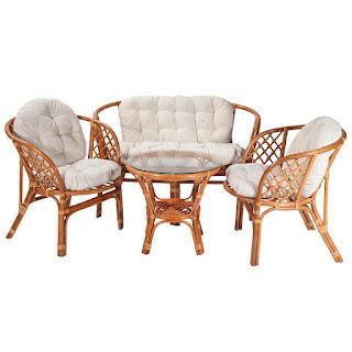 Conjunto rattan sofa, sillones, mesa Abileas