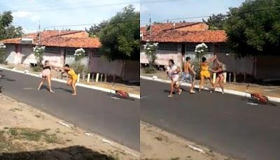 Vídeo mostra pancadaria entre mulheres na Avenida Martins Ribeiro em Ilha Grande-PI