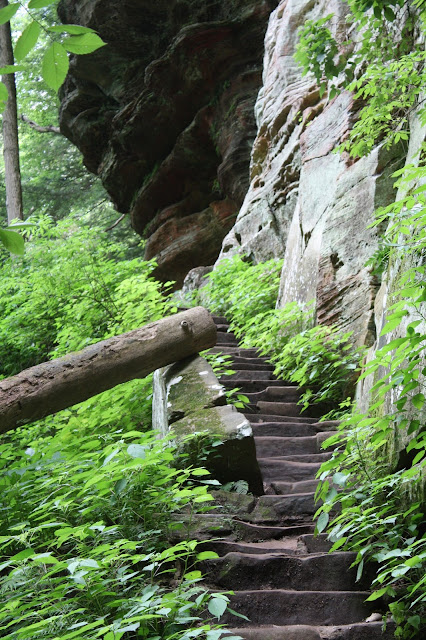 Stairs up the cliffs in Hocking Hills