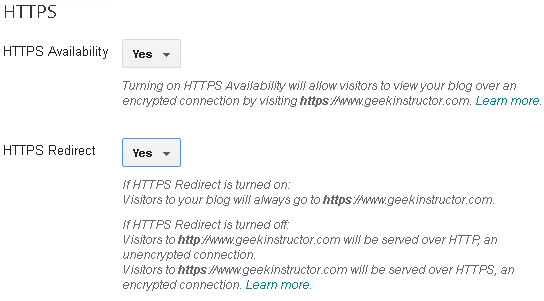 Enable 301 HTTPS redirect