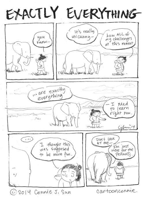 self-improvement, life lessons, humor, elephant comic strip, sketchbook, daily comic, connie sun, cartoonconnie