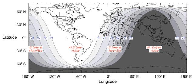 visibilidade do eclipse lunar total de janeiro de 2019 - brasil e américas