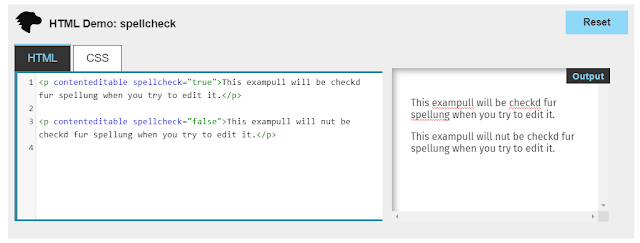 Screenshot showing example of spellcheck attribute working