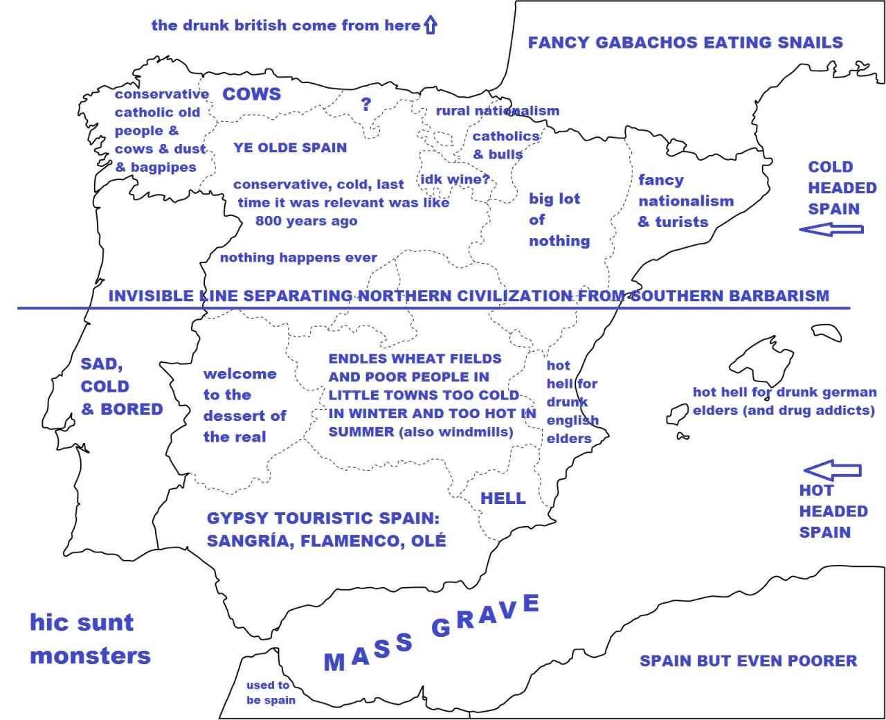 Spain stereotype map