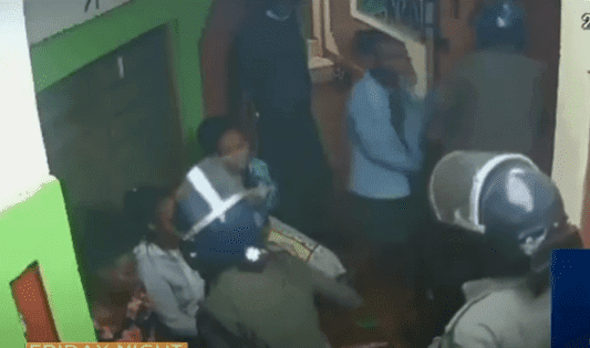 Police officers in Voi beating Students footage