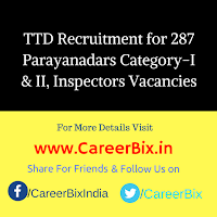 TTD Recruitment for 287 Parayanadars Category-I & II, Inspectors Vacancies
