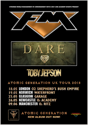 FM + Dare + Toby Jepson- tour dates 2018 - poster