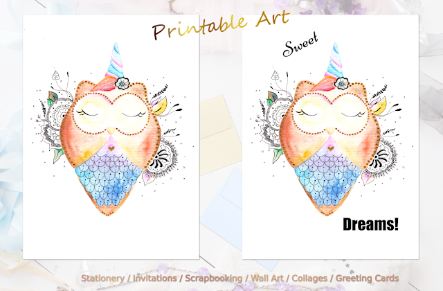 Cute Owl Watercolor and Printable Quote